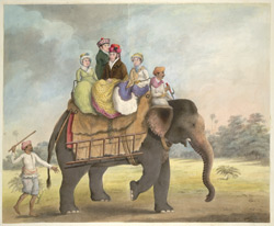 Lord Moira's European servants seated on an elephant